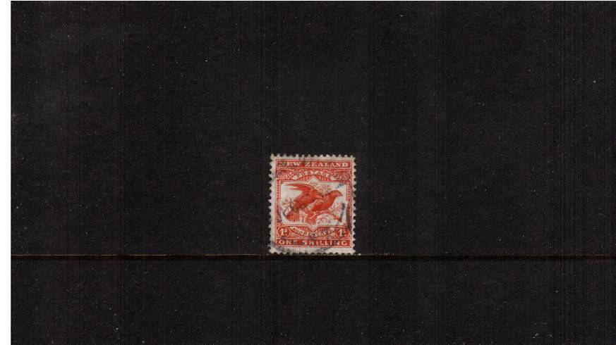 1/- Orange-Brown  - ''Pictorials'' - Watermark ''Single'' NZ - Perforation 14<br/>