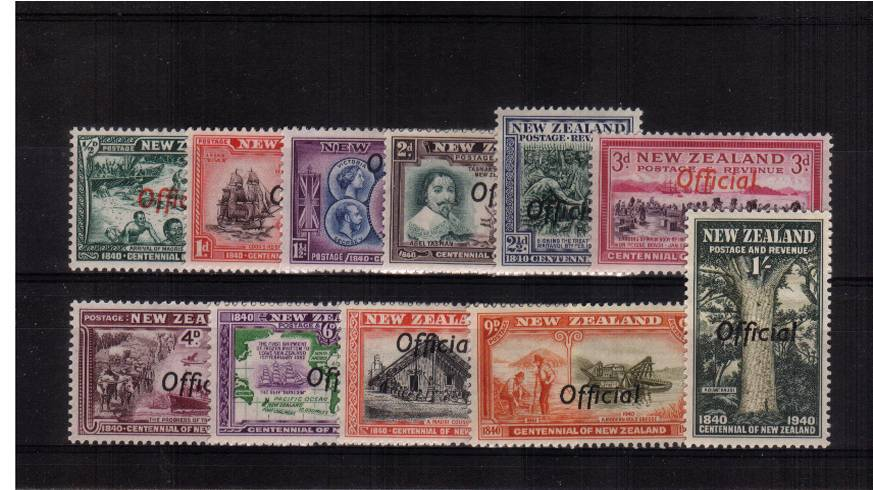 The ''OFFICIALS'' set of eleven very, very lightly mounted mint <br/>with each stamp having a feint trace of a hinge mark! Lovely!