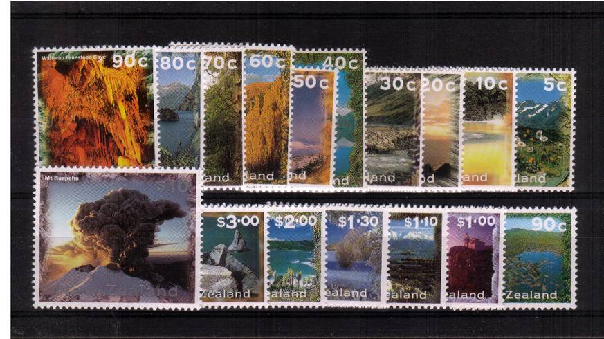New Zealand Scenery set of seventeen superb unmounted mint.<br/><b>QSQ</b>