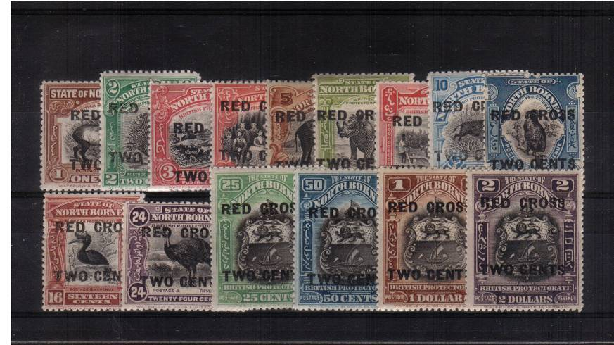 The ''RED CROSS'' overprint set to the $2 value all superb unmounted mint. A very rare set unmounted!