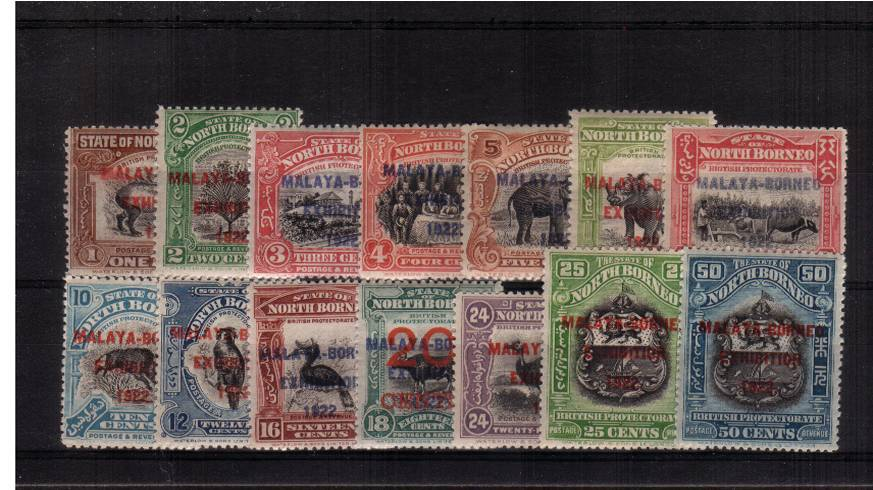 The ''MALAYA-BORNEO EXHIBITION 1922'' set of fourteen all superb unmounted mint. A very rare set to find unmounted.