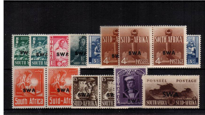 The WAR EFFORT set of seven and two singles with the bonus of the two SG listed shades all superb unmounted mint. SG Cat �.50