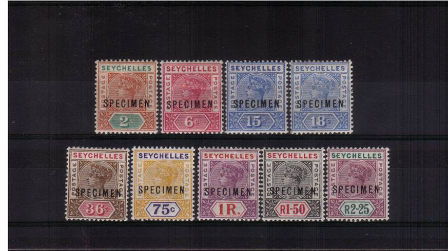 A fine and very fresh lightly mounted mint ''SPECIMEN'' set of nine.