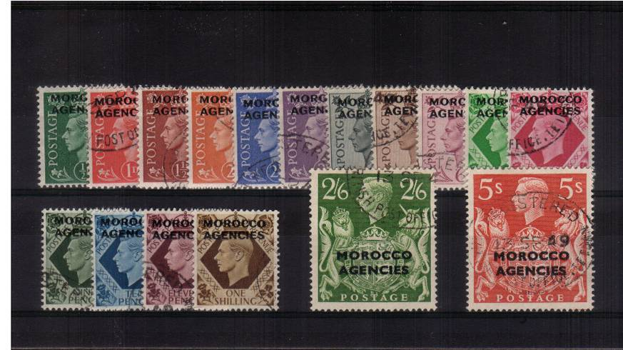 A superb fine used set of seventeen each stamp with a selected cancel. Stunning! 