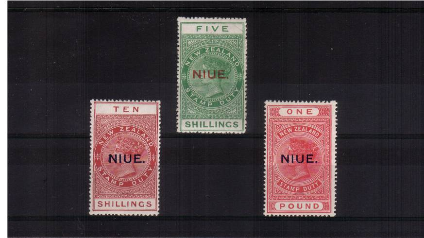 A superb very lightly mounted mint set of three with the 5/- being unmounted mint. SG Cat �0