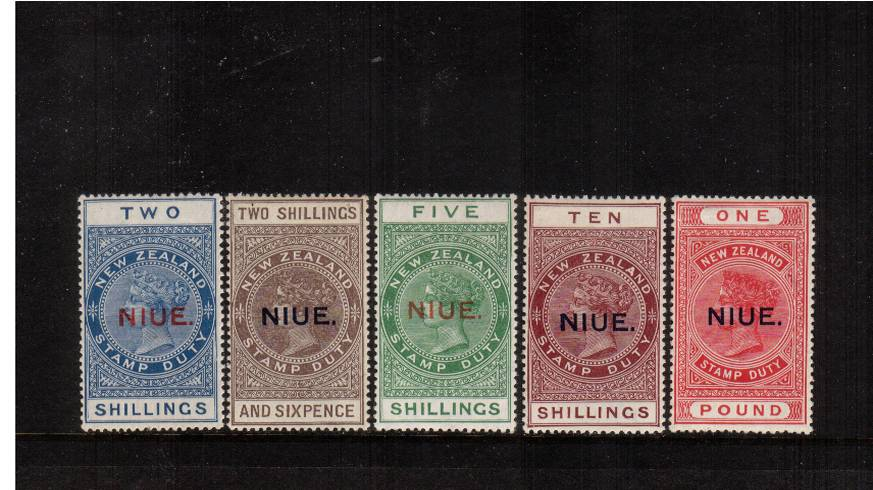 The Postal Fiscal stamps overprinted NIUE superb very, very lightly mounted mint set of five. A lovely set fine and very fresh. SG Cat �0