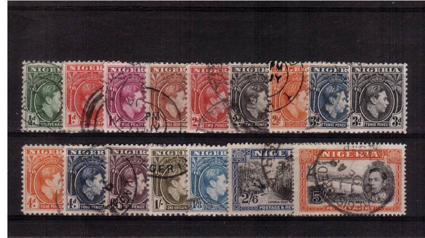 The George 6th complete set of sixteen each stamp with a selected above average cancel.