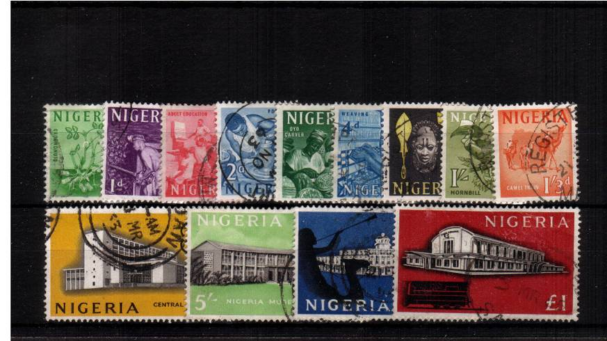Superb fine used set of thirteen with   a feint crease on the £1 mentioned for accuracy. SG Cat £26