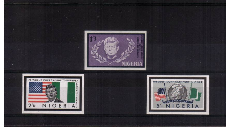 President Kennedy Memorial Issue<br/>The set of three IMPERFORATE superb unmounted mint