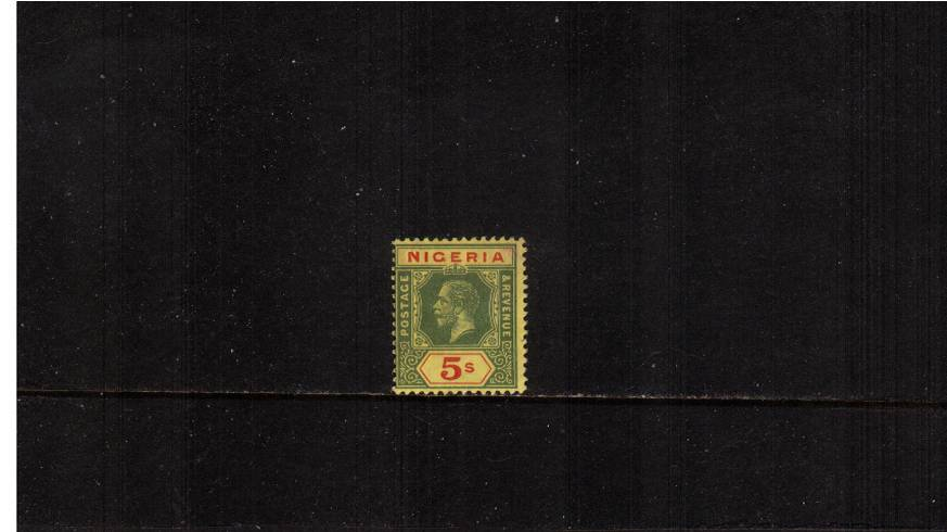 5/- Green and Red on Yellow with Lemon back.<br/>