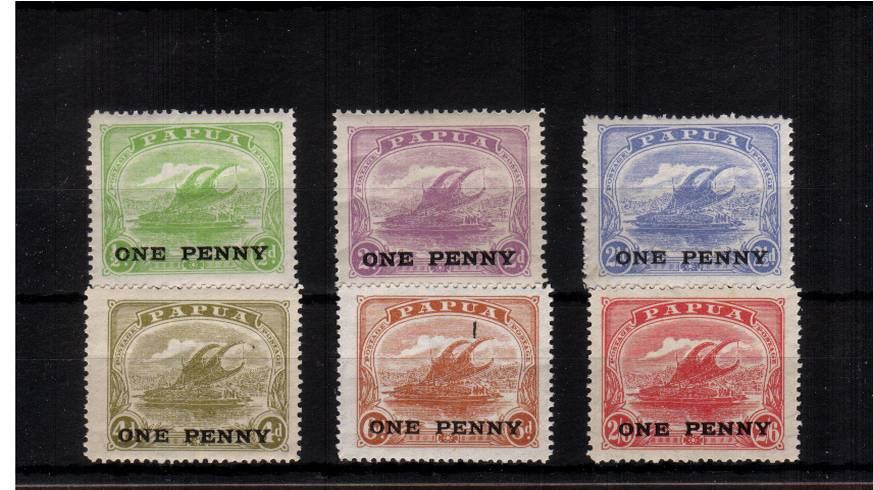 The ''ONE PENNY'' surcharged set of six superb unmounted mint. Very scarce set unmounted.<br/><b>QVQ</b>