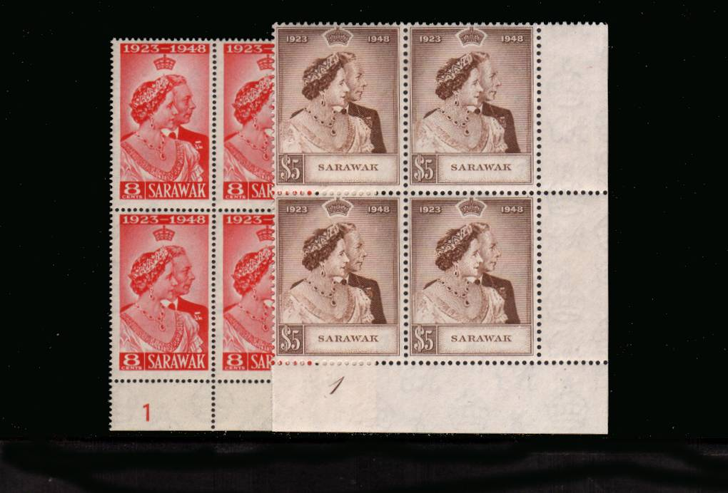 The 1948 Royal Silver Wedding set of two superb unmounted mint <br/>plate and cylinder corner blocks of four.<br/><b>SEARCH CODE: 1948RSW</b><br><b>UAU</b>