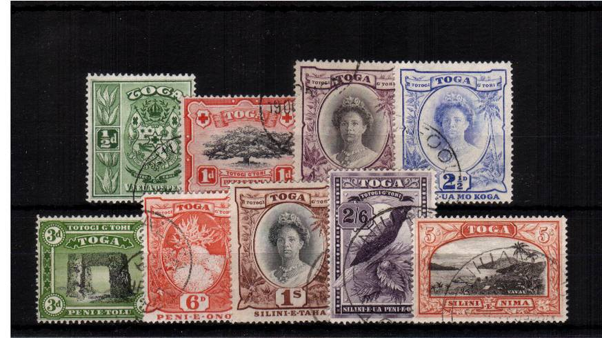 a stunning superb fine uised set of nine with each stamp having a selected Tonga CDS cancel. Gem set! SG Cat �0 