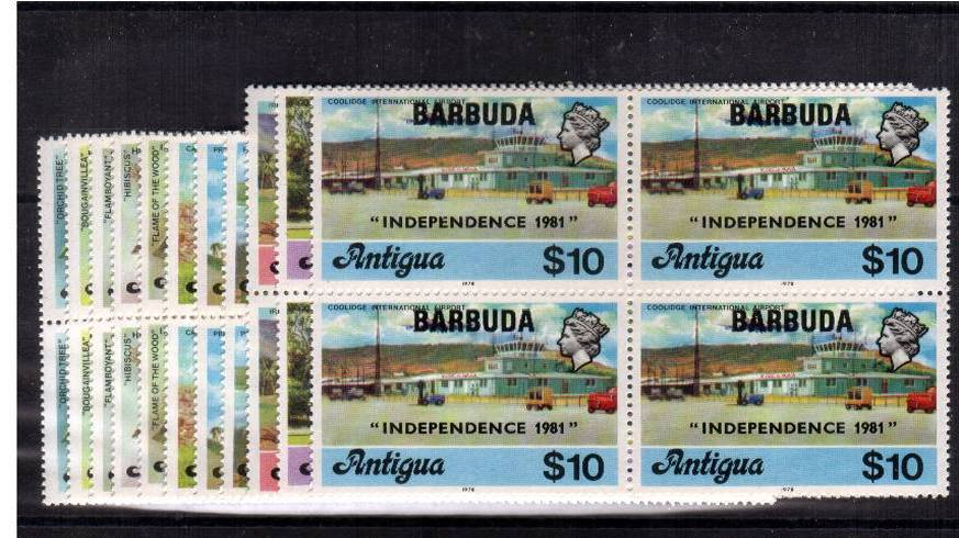 Superb unmounted mint set of eleven in blocks of four overprinted ''INDEPENDENCE 1981''