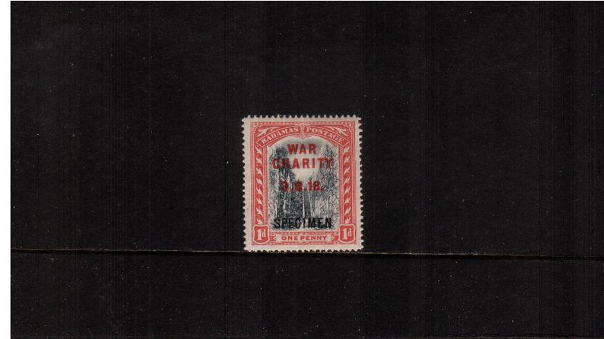 1d Grey-Black and Deep Carmine overprinted WAR CHARITY<br/>