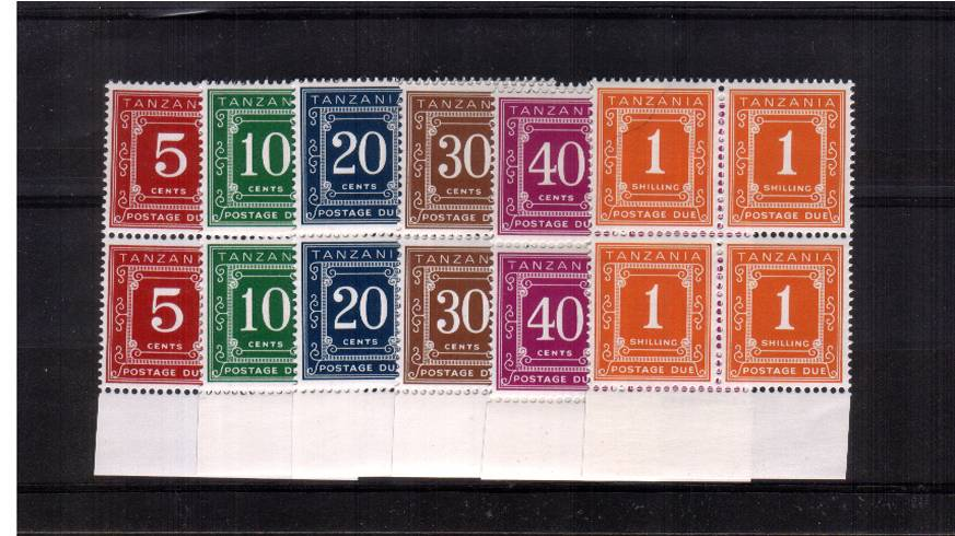 The POSTAGE DUE set of six<br/>on Glazed Ordinary Paper with PVA gum.<br/>