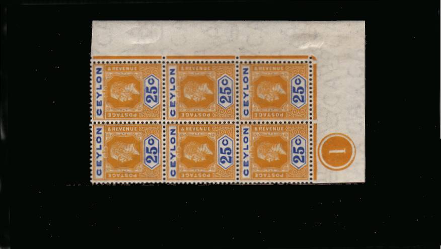25c Orange and Blue Watermark Multiple Crown CA<br/>
