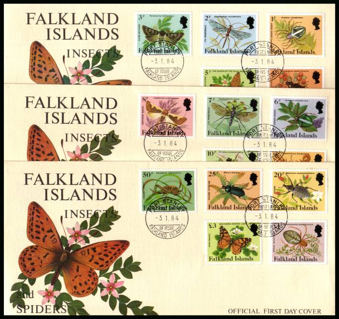 Insects and Spiders definitive set of fifteen on three First Day Covers<br/>cancelled  PORT STANLEY 3-1-84 on official colour covers.