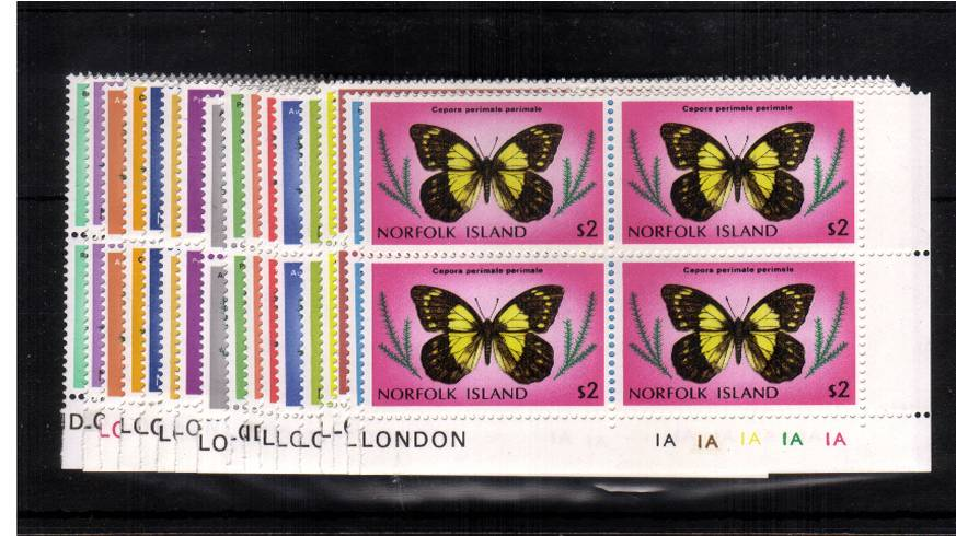 The Butterflies complete set of seventeen in superb unmounted mint SE corner blocks of four.<br/><b>UEU</b>