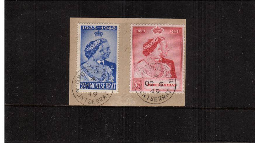 The 1948 Royal Silver Wedding set of two tied to a small piececancelled with a MONTSERRAT steel CDS dated OC 6 49.<br/><b>SEARCH CODE: 1948RSW</b><br/><b>UEU</b>