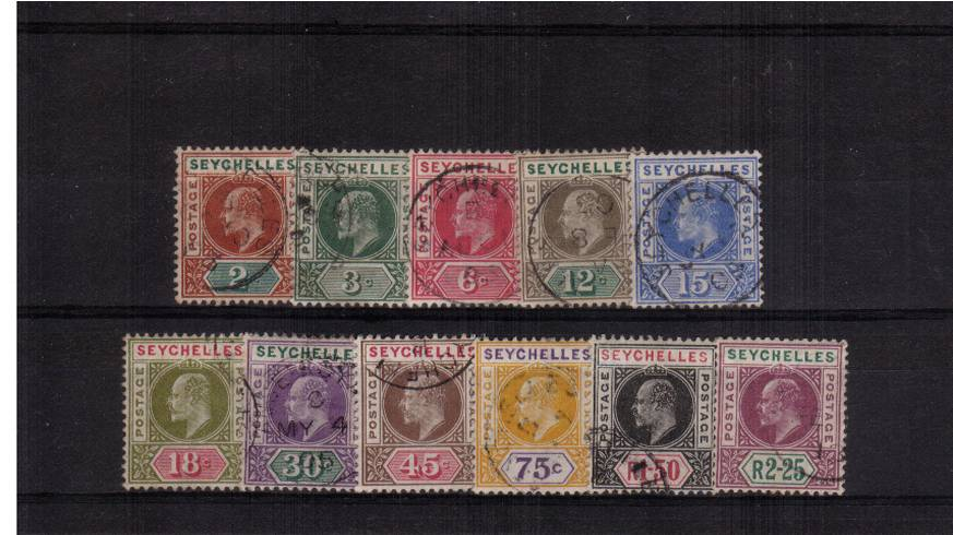 The Edward 7th set of eleven superb fine used each stamp with a selected cancel. Superb! SG Cat �5