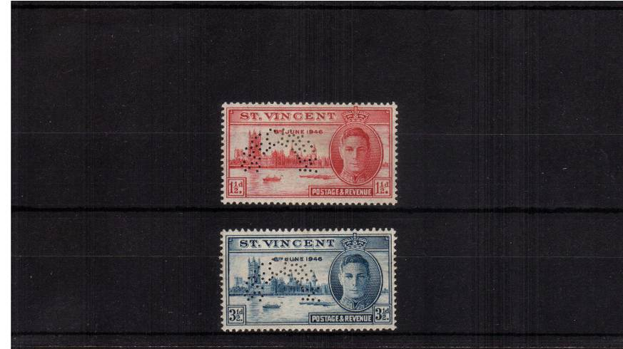 The Victory Issue set of two good mounted mint perfined ''SPECIMEN''
