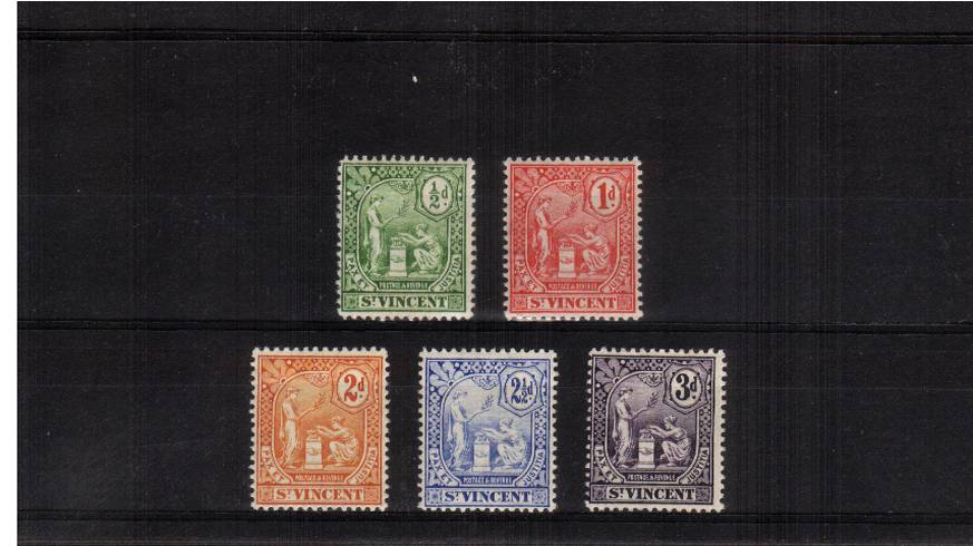 The Multiple Crown CA watermark set of five very lightly mounted mint. Bright and fresh!!