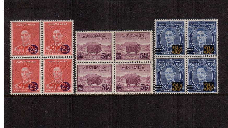 The overprint set of three in superb unmounted mint blocks of four.<br/><b>UEUa</b>