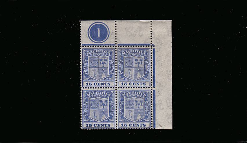15c Blue in a superb unmounted mint (mounted on margin) NE corner block of four showing Plate number ''1''.  