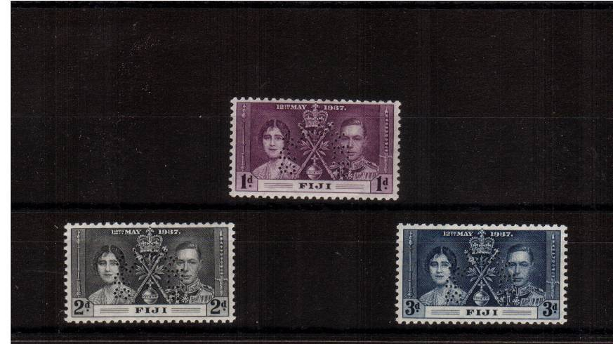 The Coronation set of three lightly mounted mint perfined SPECIMEN. SG Cat �0