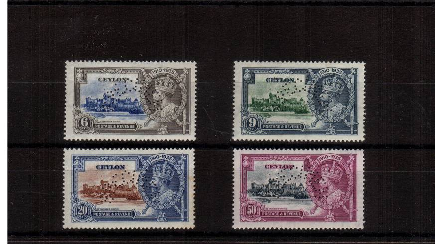 Silver Jubilee set of four unmounted mint with a couple of tone spots on gum not visible from front perfined SPECIMEN.