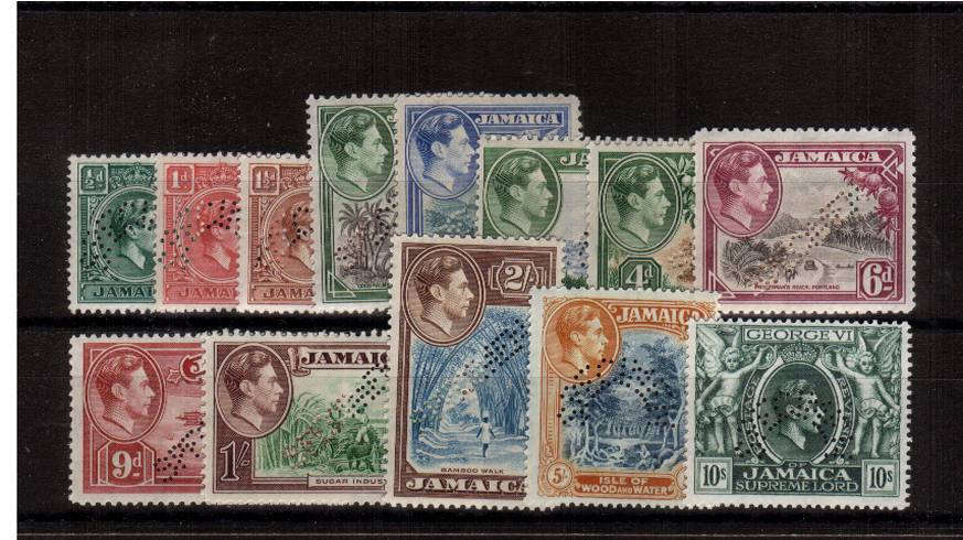 The George 6th complete set of thirteen perfined SPECIMEN fine lightly mounted mint.