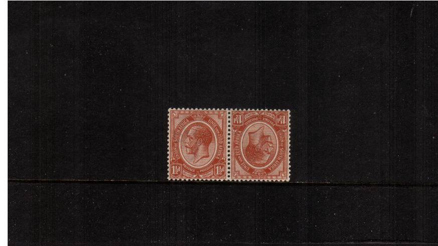 1絛 Chestnut ''tete-beche'' pair<br/>Superb unmounted mint pair