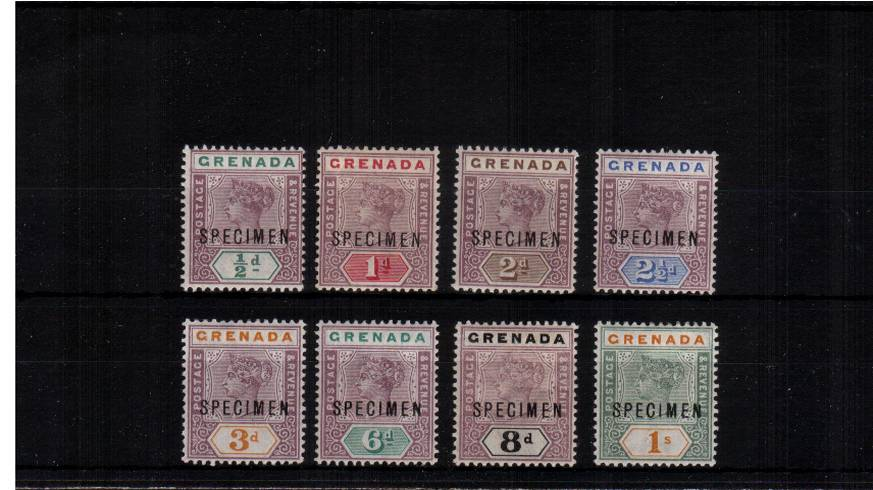 A fine and fresh lightly mounted mint set of eight overprinted ''SPECIMEN''.