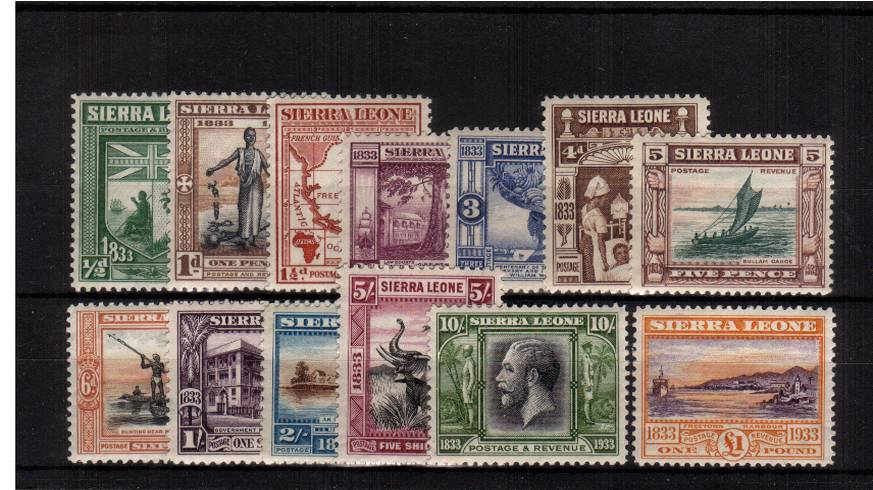 Abolition of Slavery and death of William Wilberforce set of thirteen.<br/>One of the great sets of Commonwealth philately<br/>A lovely bright and fresh set with each stamp lightly hinged.  An exceptional set with lovely centering!<br/><b>UHU</b>