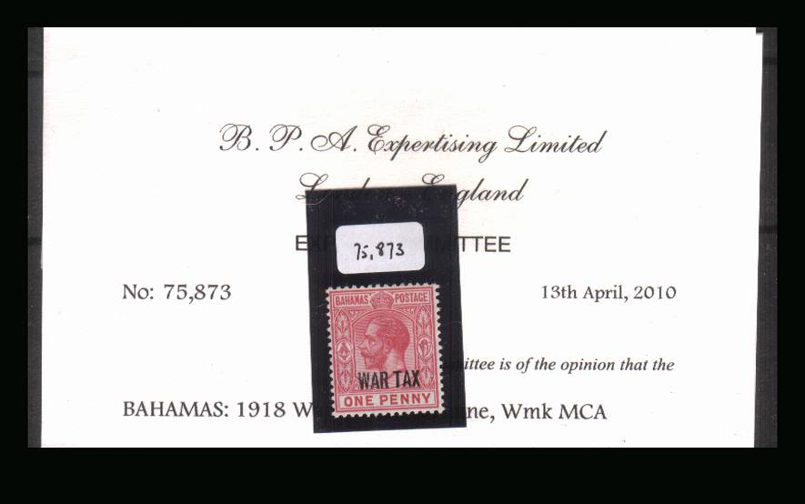 The 1d Carmine overprinted ''WAR TAX'' single<br/>