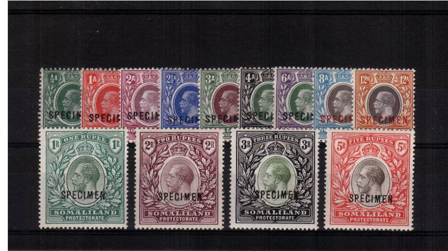 The George 5th complete set of thirteen superb unmounted mint but with two stamps very lightly mounted. Superb colours!