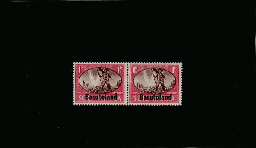 The 1d VICTORY pair showing<br/>the SG illustrated variety ''BARBED WIRE FLAW'' lightly mounted mint.