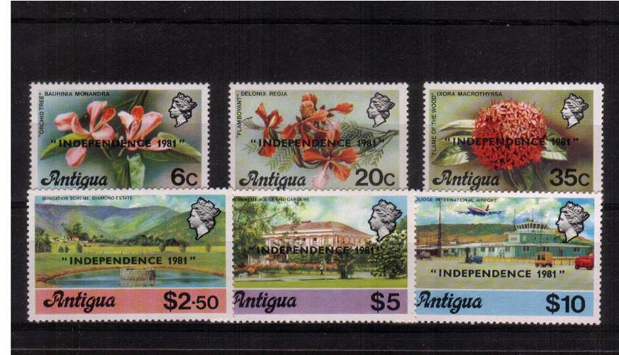 The overprinted set of six overprinted ''INDEPENDENCE 1981'' superb unmounted mint.
