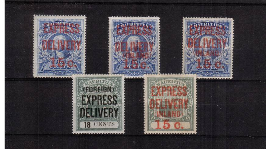The EXPRESS DELIVERY stamps complete set of five.<br/>Note: .... without SG E4 ....Cat �0.<br/>A fresh and bright set.