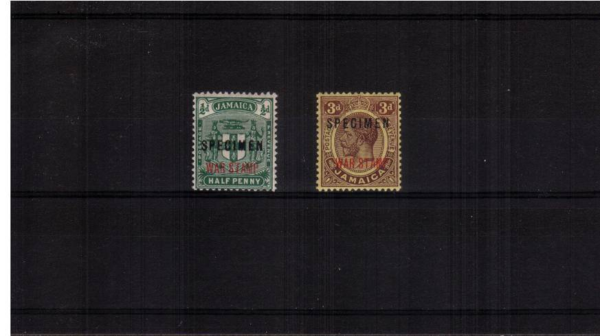 The WAR STAMP set of two overprint ''SPECIMEN'' superb unmounted mint.<br/>A very rare set to find unmounted!