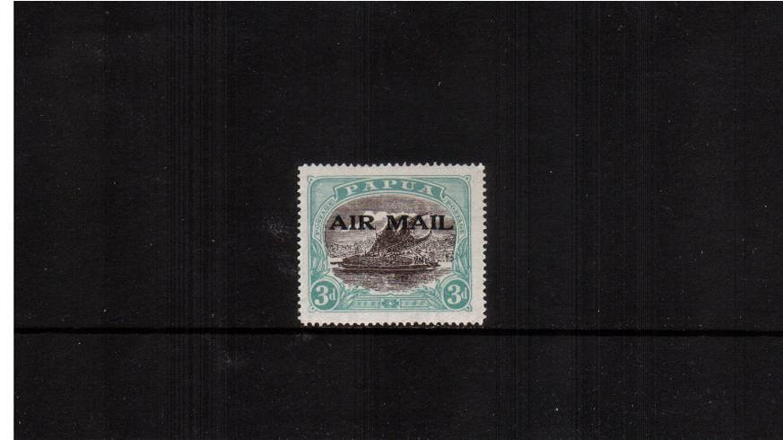 3d Sepia-Black and Bright Blue-Green overpinted ''AIRMAIL''<br/>