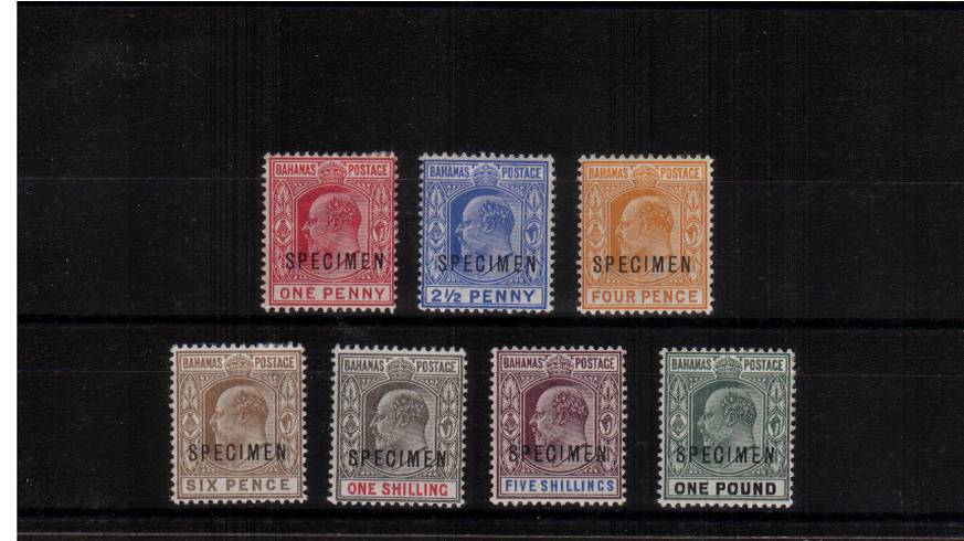 A lovely lightly mounted mint set of seven overprinted SPECIMEN. Bright and fresh colours!