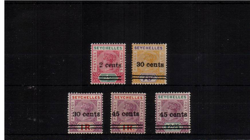 The surcharges set of five lightly mounted mint.