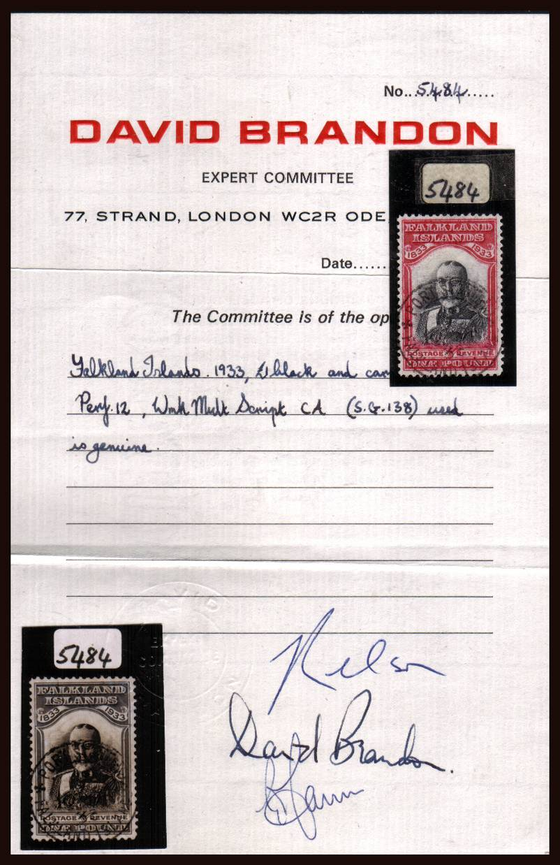 £1 Falkands Centenary<br/>A stunning superb fine used example of this great classic of philately.<br/>A lovely stamp lightly cancelled with a PORT STANLEY double ring CDS dated 1935 with<br/>the benefit of a BRANDON certificate. SG Cat £3500<br/><b>QGX</b