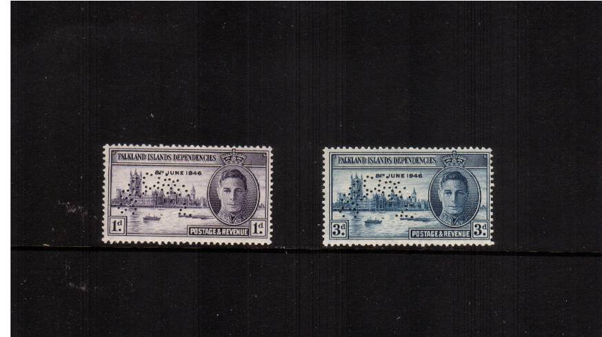 The Victory set of two perfined ''SPECIMEN'' superb unmounted mint. A rare set unmounted! SG Cat �5