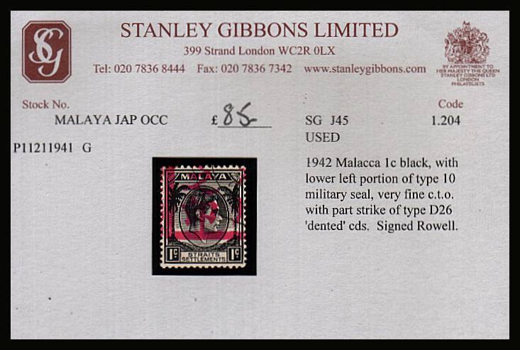 STRAITS SETTLEMENTS the 1c Black cancelled with lower left portion of Military Seal in bright Red superb fine used. Signed in pencil by Rowell. Offered of SG stock card from the 1990's SG Cat �