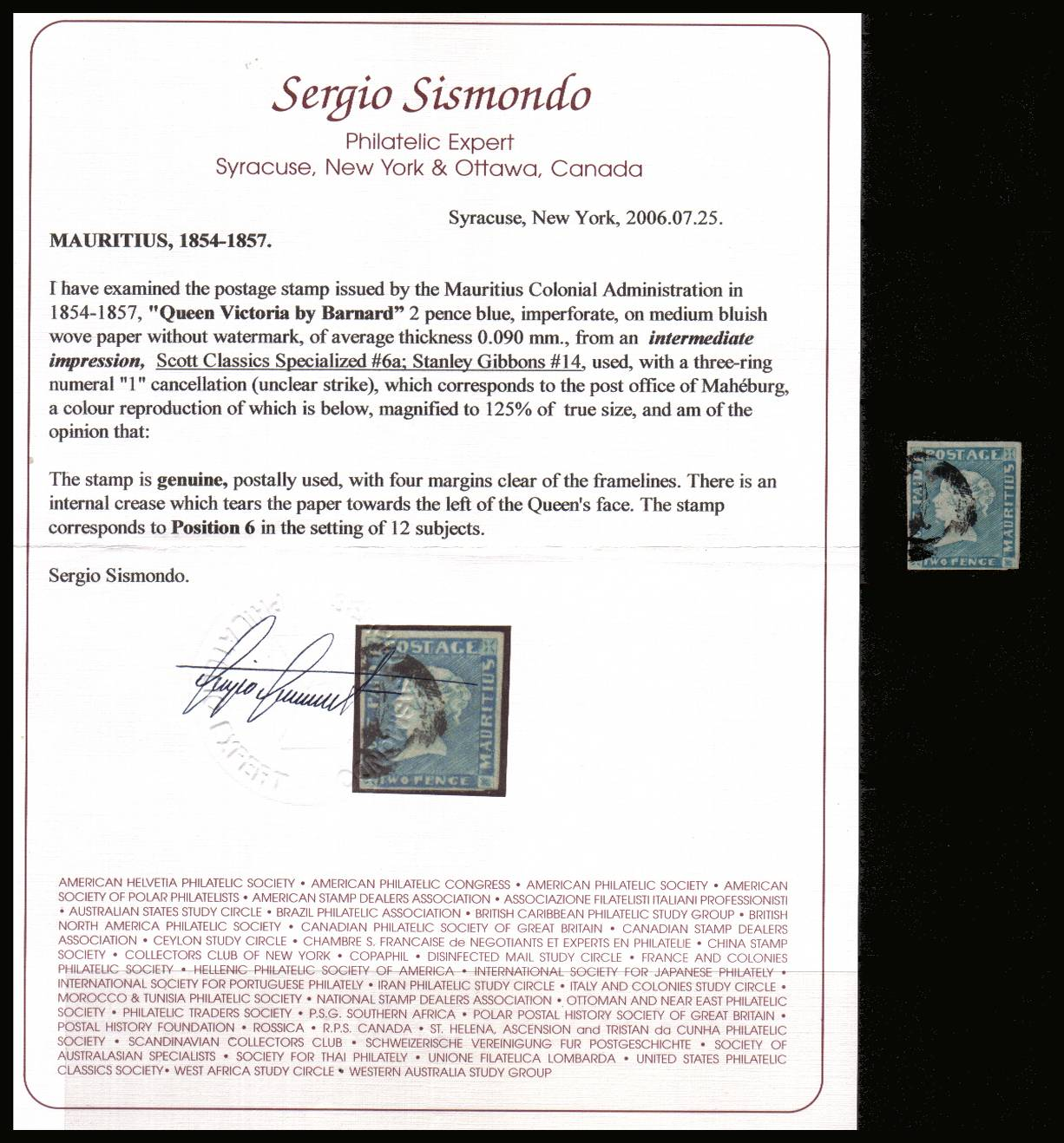 2d Blue, Imperforate on medium Bluish wove paper, intermediate impression<br/>