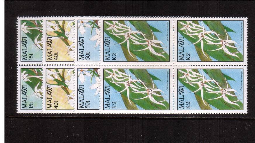 Orchids<br/>Set of four in superb unmounted mint blocks of four