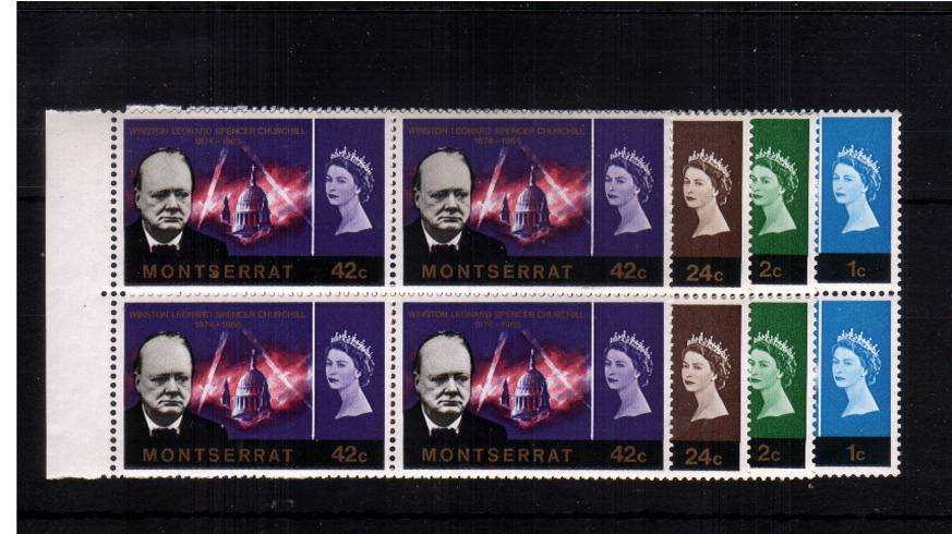 Churchill Commemoration in superb unmounted mint left side marginal blocks of four